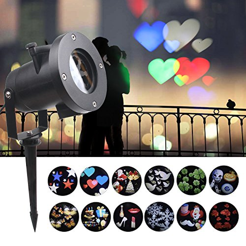 KOOT Valentines Day Light Projector ,12 Pattern Holiday Decorations Outdoor Waterproof Landscape for Valentine Christmas Holiday Birthday Wedding Party (Theater Candy Display)