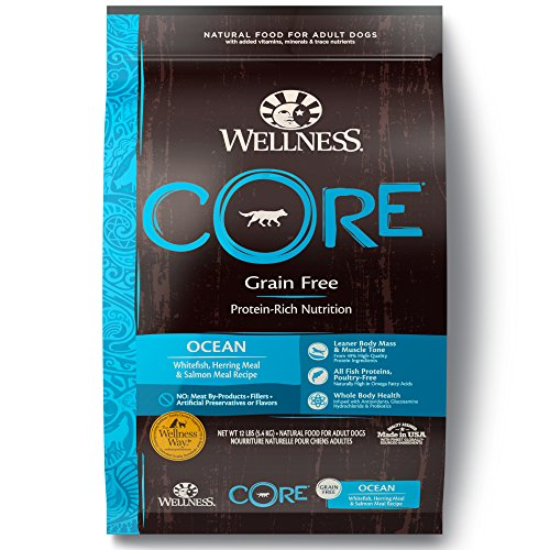 Wellness CORE Natural Grain Free Dry Dog Food, Ocean Whitefish, Herring & Salmon, 12-Pound Bag