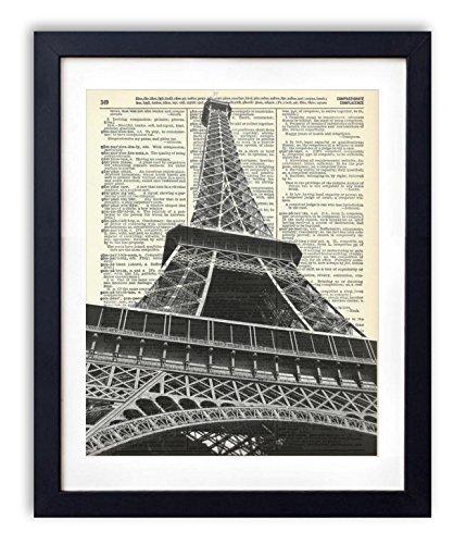 Eiffel Tower (#1) Upcycled Vintage Dictionary Art Print (Paris Antique Print)
