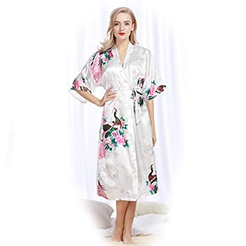 Kimono Mujer Pijama Pijamas Verano Camison Raso Camisones Bata Invierno Batas Medium Textil de Largo Lenceria Saten Seda Albornoz Vestido Noche,White,XL: ...