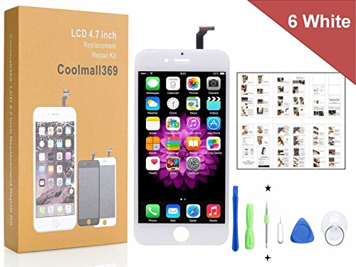 Price comparison product image iPhone 6 Screen Replacement For Lcd Touch Screen Digitizer Frame Assembly Set Coolmall369 Free Tool Kit included (White)