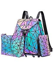 LOVEVOOK Geometrische Rucksack Set, Damenrucksack Elegant, Leuchtend Holographic Tasche Daypack, 3pcs Umhängetasche Tagesrucksack Geldbörse, für Schule Uni Reise Party
