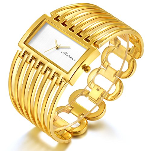 Women Luxury Gold Bangle Watch Fashion Stainless Automatic Watch Designer Cuff Bracelet Watches