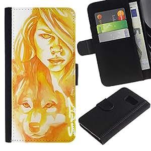 Stuss Case / Funda Carcasa PU de Cuero - Mujer Perro Lobo Pintura del arte del retrato - Samsung Galaxy S6