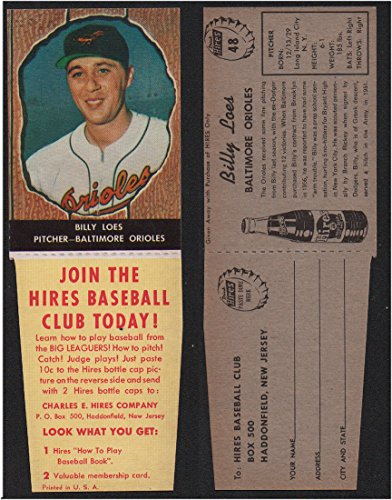 (1958 Hires Root Beer With Tabs (Baseball) Card# 48 Billy Loes of the Baltimore Orioles NrMt Condition)