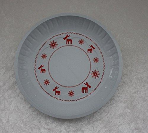 2 Stück GEBÄCKTELLER - RENTIER - weiß 25 cm, Metall, Weihnachtsteller Gebäckschalen Knabberteller Weihnachtsmannmütze Weihnachtsfeier Santa Claus Nikolausmütze Zipfelmütze