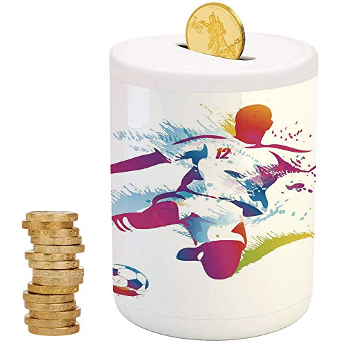 iPrint Teen Room Decor,Piggy Bank Coin Bank Money Bank,Top Slot Porcelain Nursery Décor Baby Bank,Soccer Player Kicks The Ball Watercolor Style Spray Championship Image