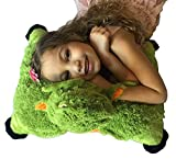 """Green Dragon Zoopurr Pets 19"""" Large, 2-in-1 Stuffed Animal and Pillow with Embroidered Eyes   Expandable Cushion   Premium Soft Plush Cute Toy Travel Comfort   Great Present for Toddlers & Kids"""