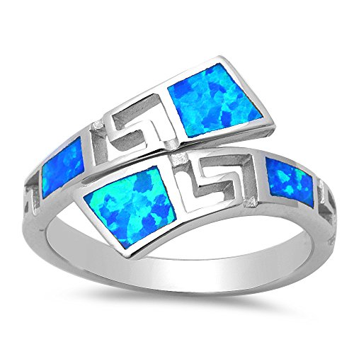 Lab Created Blue Opal Fashion .925 Sterling Silver Ring - Size 8 ()