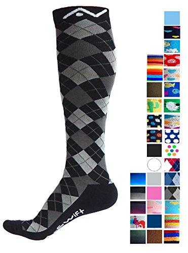 Compression Socks for Women & Men - Black Argyle, Large