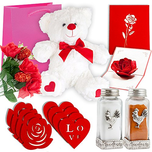 Gift Basket | 12 Inch Teddy Bear Plush, 3D Popup Card, Artificial Rose Flower Bouquet, 4 Rose Shaped Felt Wine Coaster, 4 Love Shaped Drink Coaster, Salt & Pepper Shakers & Gift Bag (RED)
