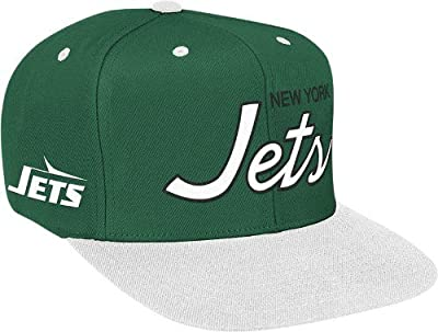 NFL Mitchell & Ness New York Jets Green-White Special Script Snapback Adjustable Hat from Mitchell & Ness