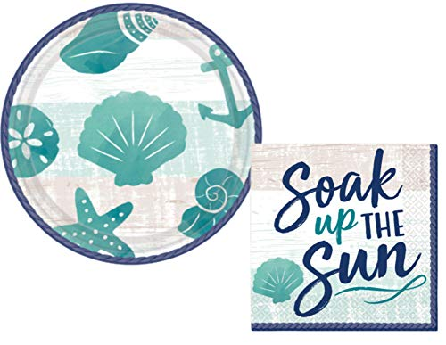 Oceanside Beach Summer Theme Party Supplies: Bundle Includes Paper Dessert Plates and Napkins for 16 People in a Nautical Sea Sand Sun Design