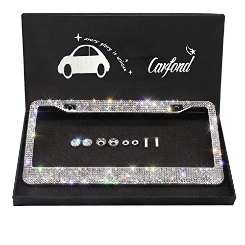 (Carfond 7 Row Handcrafted 1000+ pcs Finest 14 Facets SS20 Premium Glass Crystal Diamond Stainless Steel License Plate Frame Bonus Matching Screws Caps (Clear Crystal))