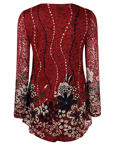 Jubby-Womens-Lace-Floral-Printed-Round-Neck-Flared-Tunic-Top