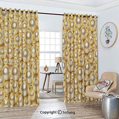 - Thermal Insulated Blackout Patio Door Drapery,Pattern with Pearls of Different Sizes Texture Print Round Bead Elegant Decor Room Divider Curtains,2 Panel Set,100