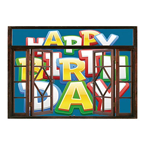 SCOCICI Creative Window View Home Decor/Wall Décor-Birthday Decorations for Kids,Rainbow Colored Happy Birthday Quote on Blue Backdrop Print,Multicolor/Wall Sticker Mural