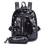 Wenjuan Fashion Girls Sequins Hit Color Backpack School Bag Travel Shoulder Bag+Clutch Wallet 2Pieces Set (Black)
