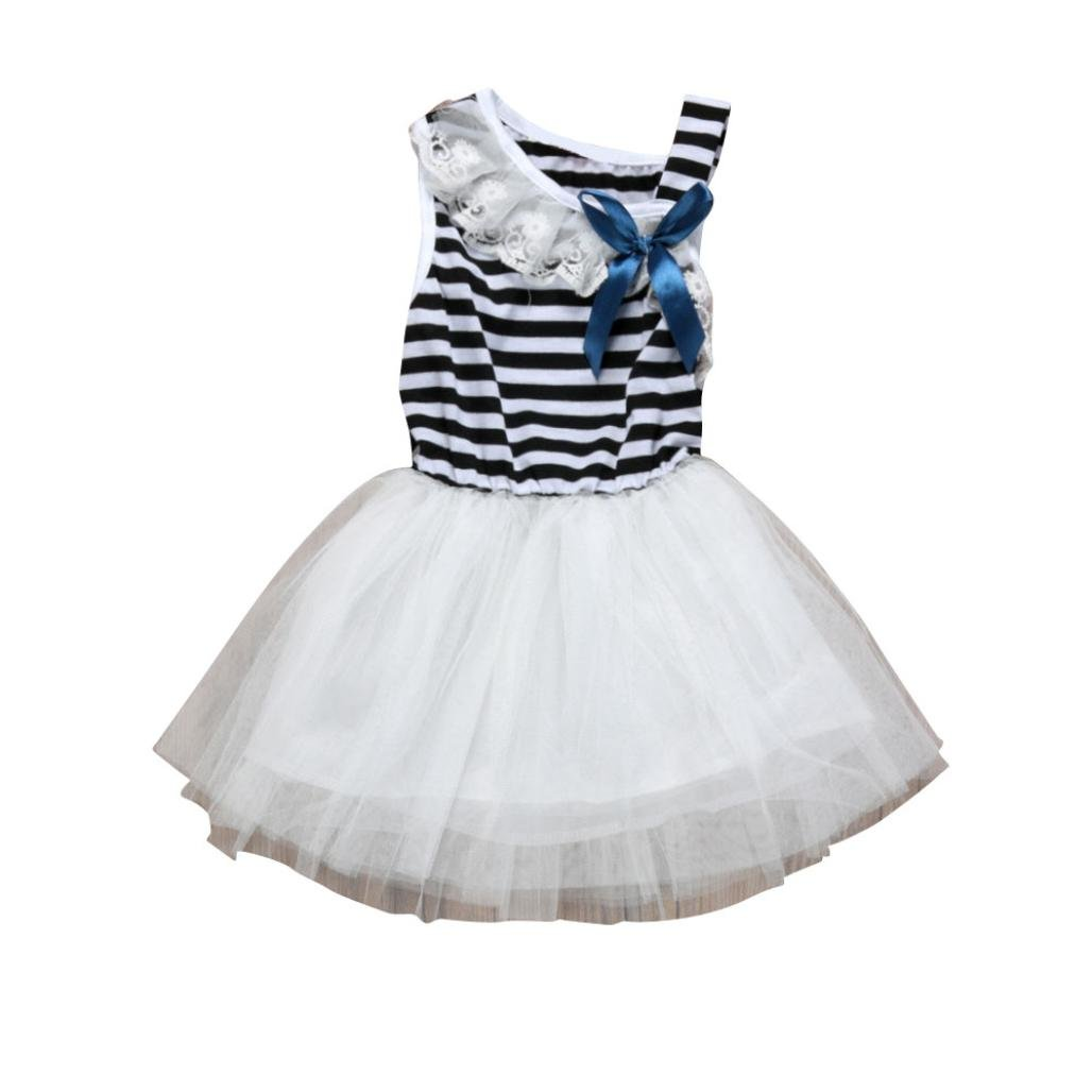 Kingko® Girls Dreesses Tutu Dress Baby Girls Striped Clothing Bowknot Sleeveless Dress Princess Party Kids Clothes