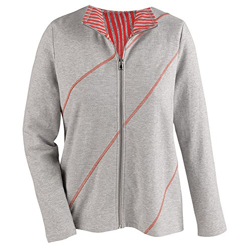 Women's Track Jacket - Bias Stitched Diagonal Stripes - Heather/Coral - 2X