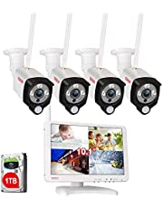 "Tonton All-in-One Home Security Camera System, Full 1080P Wireless NVR with 10.1"" IPS LCD-Monitor,4PCS 2.0 MP Waterproof Outdoor Indoor Bullet Cameras with 1TB HDD"