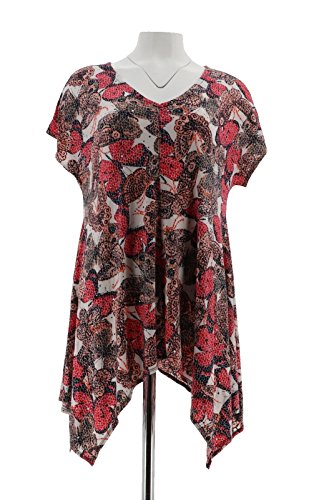 Attitudes Renee Butterfly Print Cap SLV Tunic Coral Combo 2X # A292372 from Attitudes by Renee
