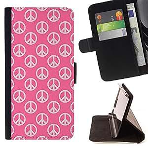 - PINK WALLPAPER PEACE SIGN LOVE SYMBOL HIPPIE - - Prima caja de la PU billetera de cuero con ranuras para tarjetas, efectivo desmontable correa para l Funny House FOR Sony Xperia m55w Z3 Compact Mini