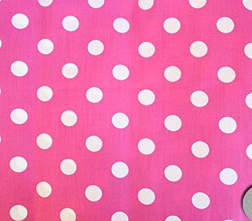 Polycotton Fabric Printed Polka DOTS White Pink Background / 60