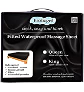 Eroticgel Queen Black Waterproof Fitted Massage Sheet Safe Against Oil amp; Silicone Hypoallergenic ...