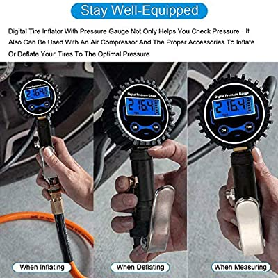 Ralthy Digital Tire Inflator with Pressure Gauge, 200PSI Heavy Duty Air Chuck and Compressor Accessories with Rubber Hose and Quick Connect Plug for Auto, Truck, Bike, Motorcycle, Backlit 0.1 Accuracy: Automotive