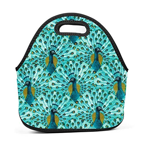 Peacock Feathers Juno Lunch Tote Thick Insulated Thermal Lunch KD-S Bag Waterproof Travel Picnic Carry Case Bento Handbags