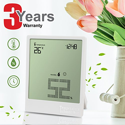 CHOICEOWN Digital Hygrometer ultra-thin large-screen thermometer Indoor Hygrometer Thermometer monitor explosion-proof screen does not hurt the hand Time Indoor Hygrometer Gift Box Packaging (White) by CHOICEOWN