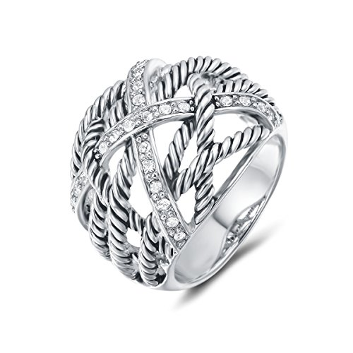 (UNY Ring Twisted Cable Wire Weave Designer Fashion Brand David Womens Vintage Valentine Love Gifts Rings (silver-plated-brass, 9))