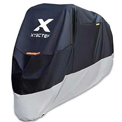 XYZCTEM Motorcycle Cover-All Season Waterproof Outdoor Protection – Fit up to 116 inch Tour Bikes, Choppers and Cruisers(XXXL,Black& Sliver): Automotive