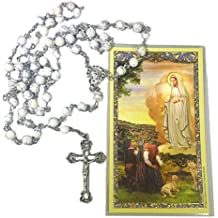 Our Lady of Fatima White Rosary and Prayer Card Gift set (includes White marbled 6mm beads Rosary Necklace with Silver Tone Crucifix and Blessed Mother centerpiece and Our Lady of Fatima holy Card)