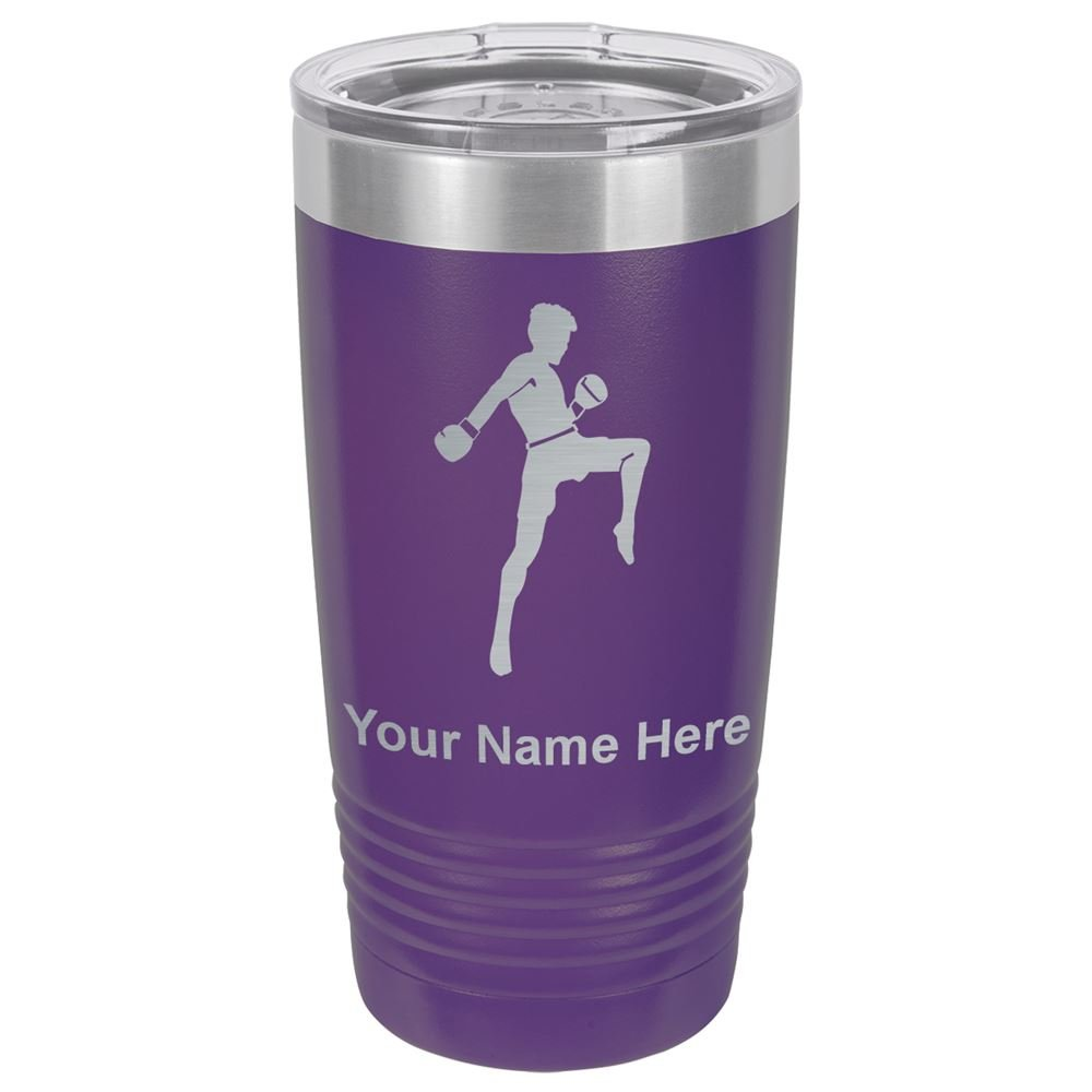 20oz Tumbler Mug, Muay Thai Fighter, Personalized Engraving Included (Dark Purple) by SkunkWerkz