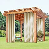 "Thermal Insulated Blackout Outdoor Curtains - PONY DANCE Thermal Insulated Blackout Curtain Outdoor Drapery With Grommets for Garden,52""W x 95""L,Beige,Sold as 1 Panel"
