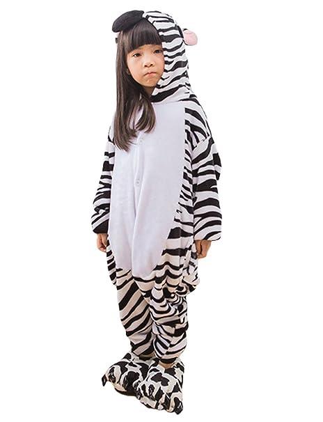 MissFox Kigurumi Pijamas Unisexo Niños Traje Disfraz Niños Animal Pyjamas Cebra 115