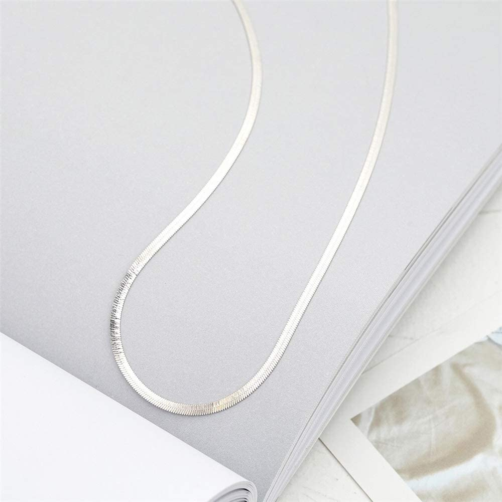 2mm Snake Chain Choker Necklace for Women Girls 925 Sterling Silver 14K Lightweight Crafted Herringbone Magic Thin Flat Chain Claw Clasp Dainty Polished Shiny Vintage Charm Necklace 16 inch