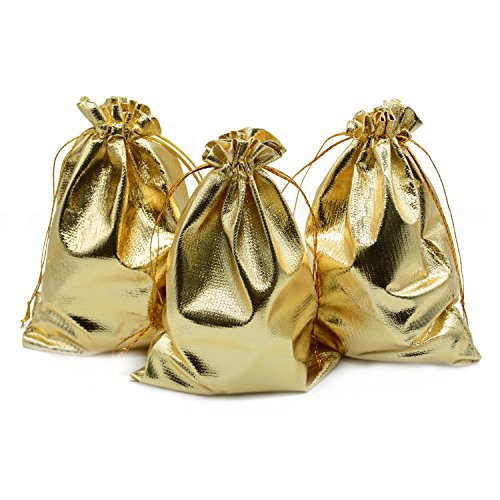 BEAVO Pack of 100 5x 7 Heavy Duty Gold Drawstring Organza Jewelry Pouches Wedding Party Christmas Favor Gift Candy Chocolate Bags (5x 7, Gold)