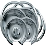 Range Kleen 1056RGE8 GE Hinged Drip Pans and Trim Rings Containing 2 Units 105A,106A, R6U, R8U, Chrome