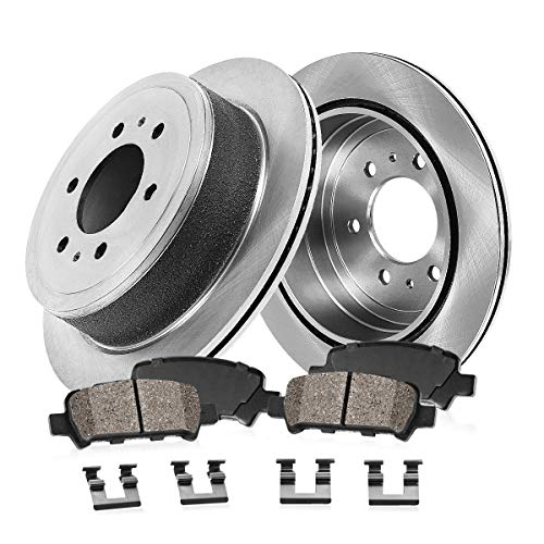 Cab Brake Pad - REAR 330 mm Premium OE 6 Lug [2] Brake Disc Rotors + [4] Ceramic Brake Pads + Clips