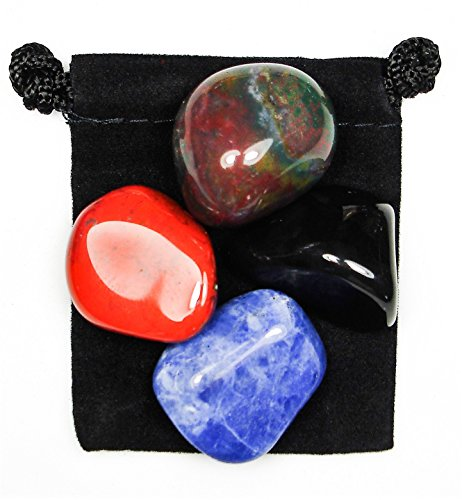 The Magic Is In You ANXIETY TAMER Tumbled Crystal Healing Set with Pouch & Description Card - Bloodstone, Jasper, Onyx, and ()