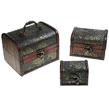 CHRISTIAN GAR Juego de 3 Cajas Decoradas de Madera (14,5 x 11 x 11 cm) - Baúles Decorativos HY-7160: Amazon.es: Hogar