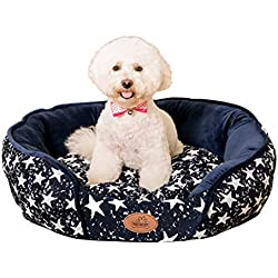 Wusowe Dog Bed Washable Removable Cover Small Medium Round Indoor Cat Bed Waterproof Chew Resistant Cuddler Pet Bed for Medium Dogs (S)
