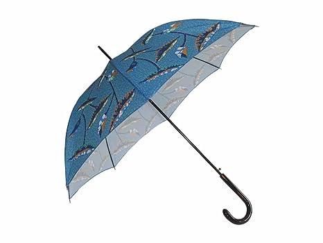 Paraguas bastón, apertura automática, color azul con motivos Made in France-wax