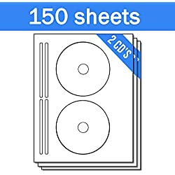 OfficeSmartLabels DISC CD DVD Labels with Spine Labels for Laser & Inkjet Printers, 2 per sheet, White, Matte, 300 Labels , 150 Sheets
