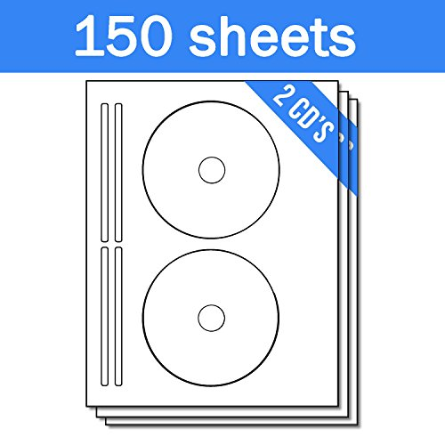 OfficeSmartLabels DISC CD DVD Labels with Spine Labels for Laser & Inkjet Printers, 2 per sheet, White, Matte, 300 Labels , 150 Sheets - Glossy Cd / Dvd Laser