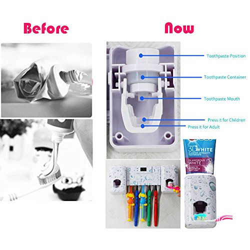 Automatic Toothpaste Dispenser Double Toothpaste Squeezer Kids Hands Free with Electronic Watch 5 Toothbrush Holder with Super Sticky Suction Pad – Shower Bathroom Accessory set(Water Drop)