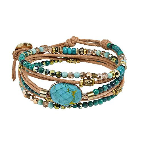 AeraVida Faceted Oval Simulated Turquoise Mix Stones Natural Leather Wrap Multiwear Bracelet